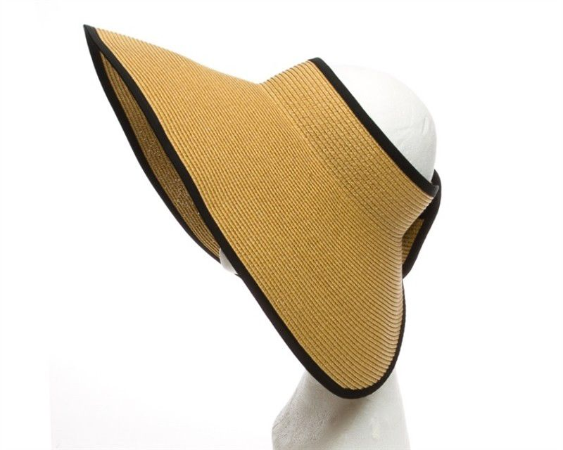 Nylon Ribbon Around Ladies Sun Visor Caps Woven Tweed Straw Brim Available