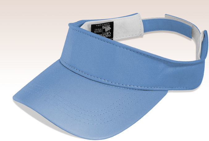 Sky Blue 3 Panels Twill Sun Visor Hat August Sportswear / Self Fabric Sweatband